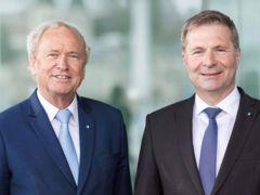 Die wiedergewählten Krienser Regierungsräte Paul Winiker (links) und Marcel Schwerzmann